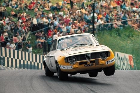 "Hard work for the Alfa Romeo GTA of Teodoro Zeccoli at ""Breidscheid"" 1972"
