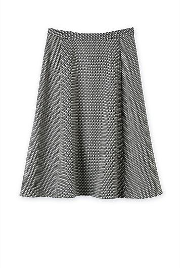 Fit And Flare Textured Skirt