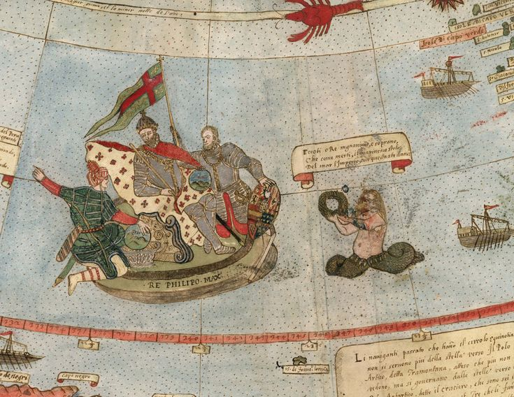David Rumsey Historical Map Collection | Largest Early World Map - Monte's 10 ft. Planisphere of 1587 | Detail of Tavola XXIIII (Coast of Brazil, Portrait of King Philip II of Spain)