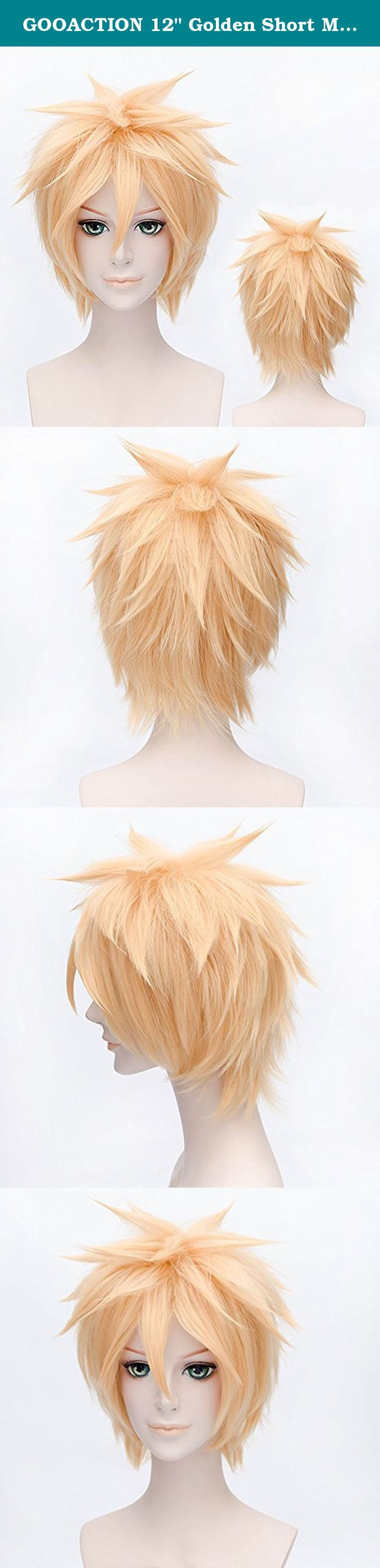 """GOOACTION 12"""" Golden Short Msn Synthetic Hair Wigs Vocaloid Anime Kagamine Len Cosplay Costume Party Wig. Feature: for Cosplay, Film, Theater, Party, Carneval, Halloween,Christmas,etc Very stylish design with natural looking and soft touch. You can wear it to parties as well as for daily use. The item is Easy to wash and care just using a little mild shampoo in cold water. Package: 1 x wig."""