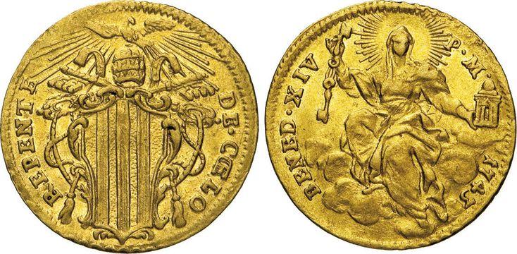 NumisBids: Numismatica Varesi s.a.s. Auction 65, Lot 826 : BENEDETTO XIV (1740-1758) Zecchino 1743, Roma. Munt. 8/9 Au g...