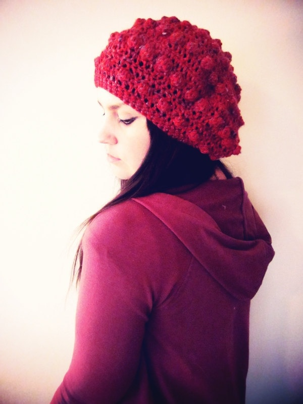 Bubble Beret in Crimson Red w Grey Twists Slouchy by softspoken