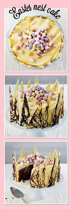 One for the chocoholics: Easter nest cake! An impressive showstopper coated in white chocolate buttercream, wrapped in swirly, marbled white chocolate shards and topped with colourful mini eggs.