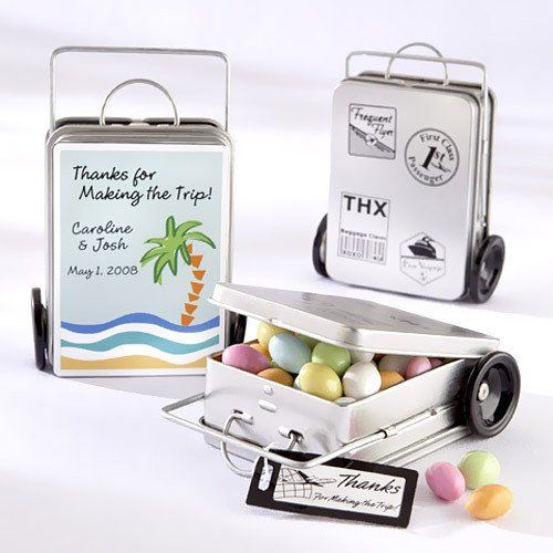 Mini Suitcase Favor Tins by Beau-coup..  this site has a lot of cute things