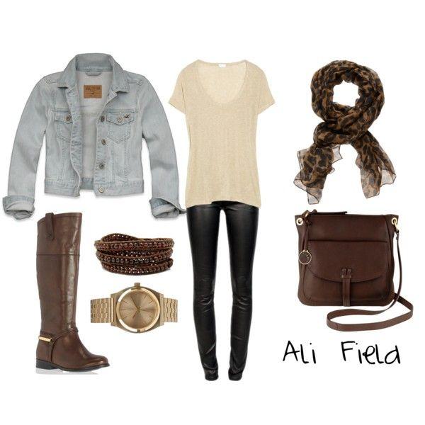 denim jacket & brown boots