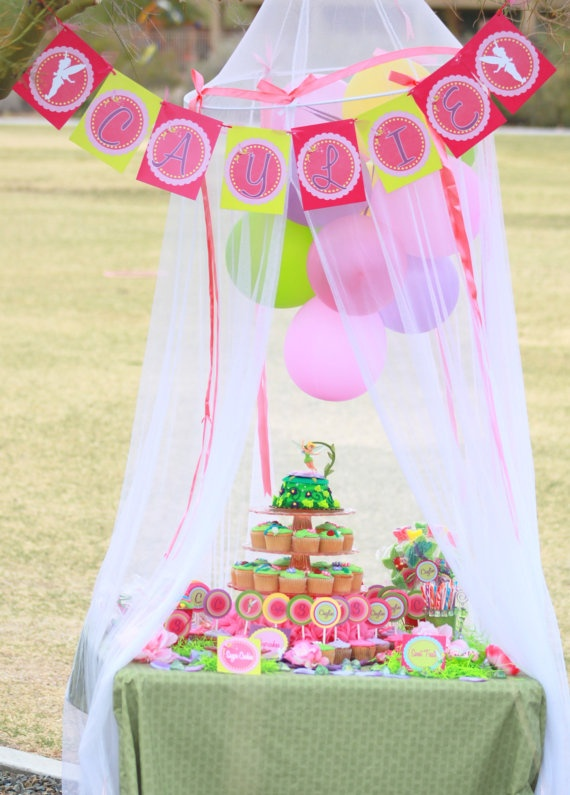 TINKERBELL BANNER Girls birthday party bridal by kalliegalaz, $3.99