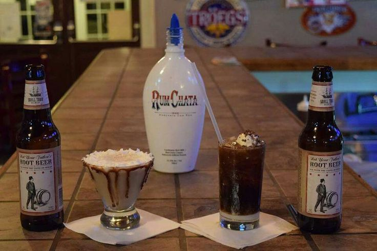 1 Oz Rumchatta 4oz Not your father's root beer .5 Oz whipped cream vodka Wee little scoop of vanilla bean ice cream YUM!!!!!!!!