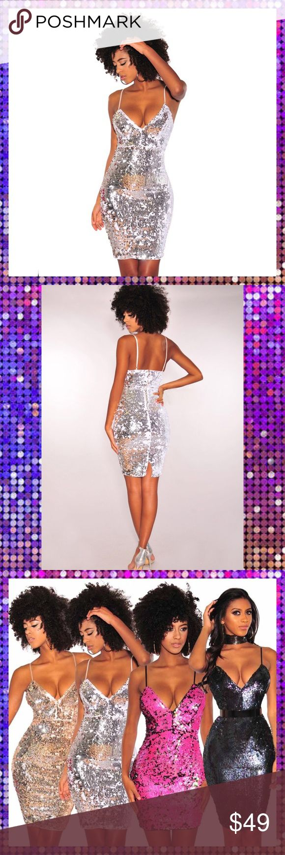 Stunning Silver Bodycon Party Dress Gorgeous silver Sequin Bodycon Dress  Size: Small 2-4  Fits with an elastic stretch that hugs and accentuates your curves   Materials: Polyester and spandex Dresses Mini