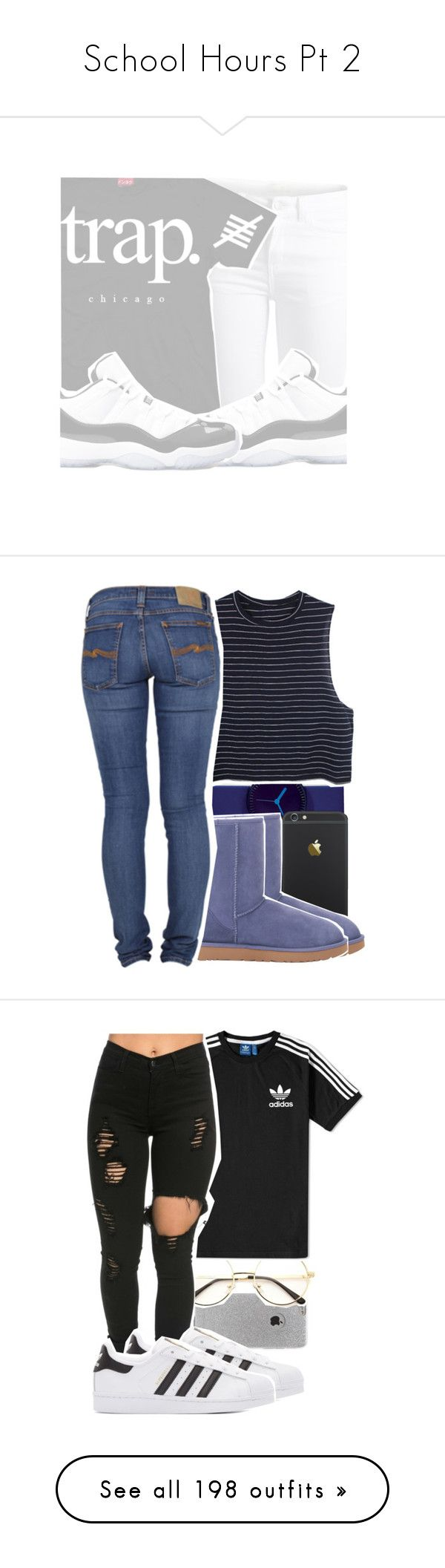 """School Hours Pt 2"" by retrovintagepizza ❤ liked on Polyvore featuring Pieces, Nava, UGG Australia, Nudie Jeans Co., LA: Hearts, adidas, adidas Originals, art, Monki and UGG"