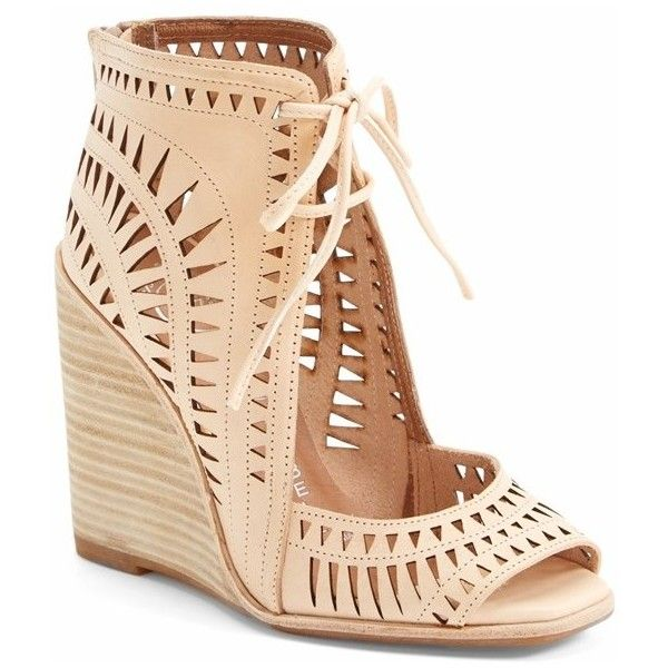 "Jeffrey Campbell 'Rodillo-Hi' Wedge Sandal, 3 1/2"" heel found on Polyvore featuring shoes, sandals, wedges, heels, sapatos, nude, nude wedge shoes, peep toe wedge sandals, nude sandals and jeffrey campbell sandals"
