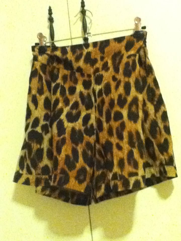 12 - high-waisted leopard print shorts. size 12, valleygirl. I got them that size because I have a huge butt and I thought that would cater for it but they're big even on me. so if you have friends with big butts..?