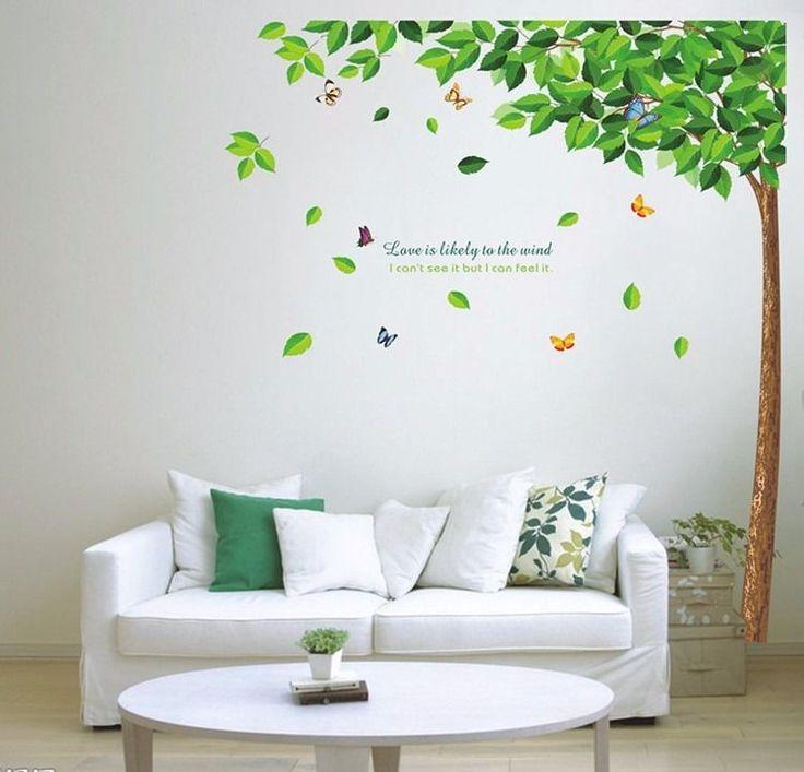 Vintage Gr n Baum Schmetterlin Wandtattoo Kind Zimmer Dekor Vinyl Abziehbild Wandgem lde