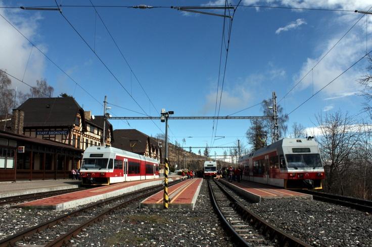 Train station of Stary Smokovec, High Tatras in Slovakia