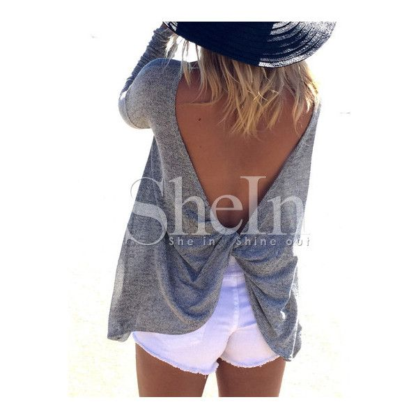 Grey Long Sleeve Backless Sweater (€9,80) ❤ liked on Polyvore featuring tops and sweaters