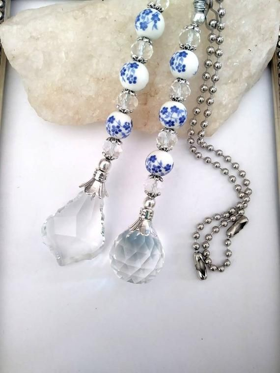 Choice Of Light Pulls Or Pair Of Ceiling Fan Pulls One Is Made With A Glass French Crystal And Measures In 2020 Crystal Ceiling Fan Pulls Ceiling Fan Pulls Fan Pulls
