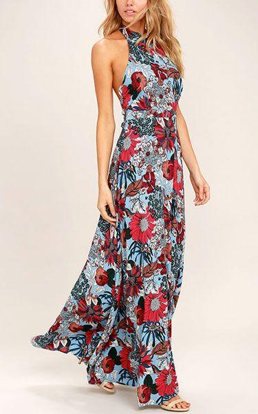 Color Me In Light Blue Floral Print Maxi Dress via @bestchicfashion