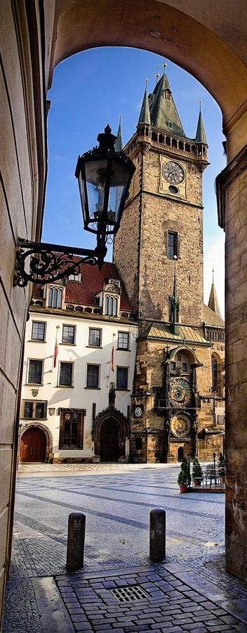 Astronomical Clock, Prague, Czech Republic. This was the path from our flat 50 yards behind to the square. This is also where I got truly drunk the first time with 25-30 Russians drinking wine from a jug. 1995. Amazing.