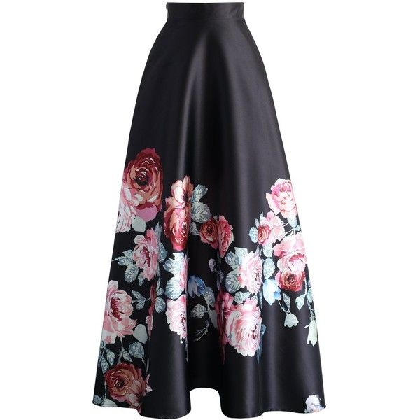 Chicwish Endless Blooming Rose Maxi Skirt ($49) ❤ liked on Polyvore featuring skirts, multi, long skirts, pleated maxi skirt, black floral skirt, long floral skirts and maxi skirt