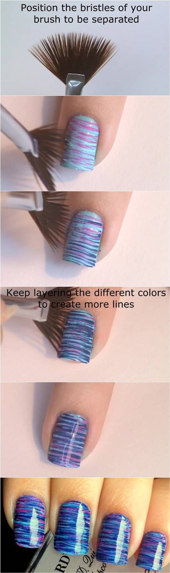 How to DIY Blue and Pink Fan Brush Striped Nail Art #fashion #beauty #nail_art                                                                                                                                                     Más