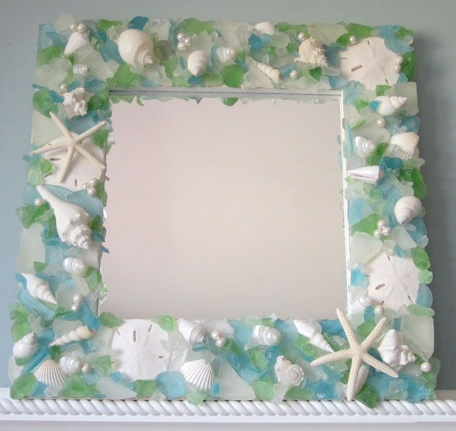 Pastel Seaglass and Starfish Mirror - I could do this ...