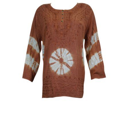 Mogul Womens Embroidered Blouse Brown Tie-Dye Rayon Tunic Top  https://www.walmart.com/search/?grid=true&page=2&query=MOGUL+INTERIOR+TOP#searchProductResult