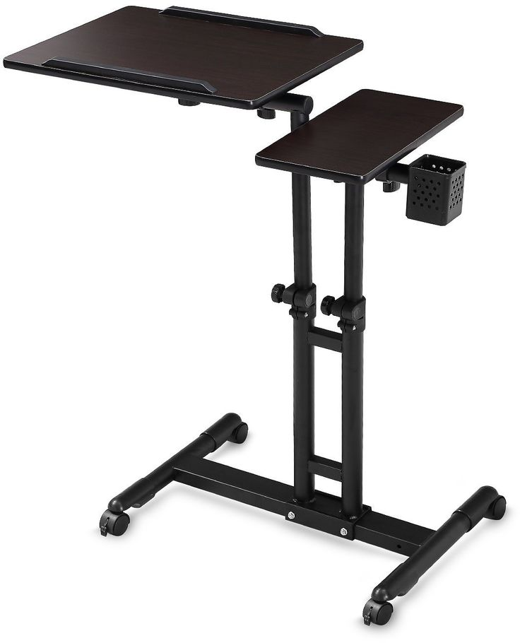 Adjustable Computer Desk Height Rolling Laptop Carts Portable Table On Wheels (Black-1)