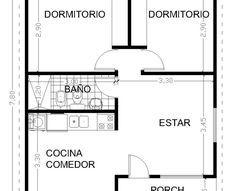 Planos y diseño de vivienda 2 dormitorios con galería. Construcción en seco de calidad. Construcción en todo el país. Mejor que una prefabricada.