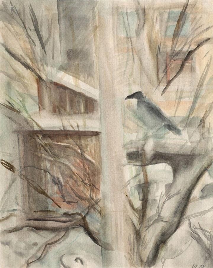 """Илларион Владимирович Голицын (1928–2007). """"Знакомая ворона. На клёне"""". Из серии """"Знакомая ворона"""". Бумага, акварель, 50x40 см. 1978."""