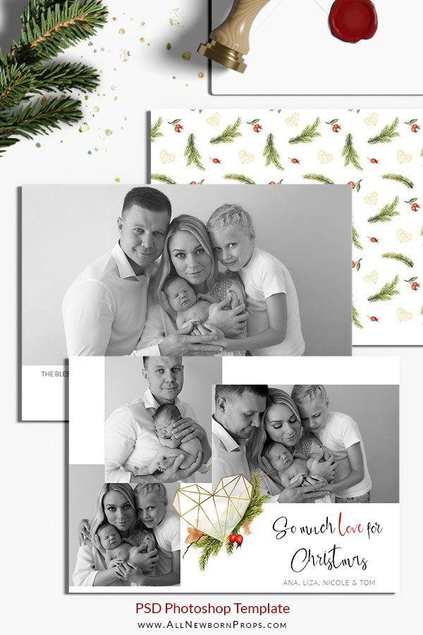 Christmas Card Photoshop Template Golden Heart All Newborn Props Christmas Photo Card Template Photo Card Template Christmas Card Photoshop