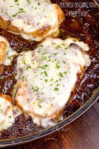 French Onion Soup Pork Chops With Boneless Center Cut Pork Chops, Olive Oil, Onions, Beef Stock, Dry White Wine, Dijon Mustard, Provolone Cheese, Fresh Thyme, Salt, Pepper