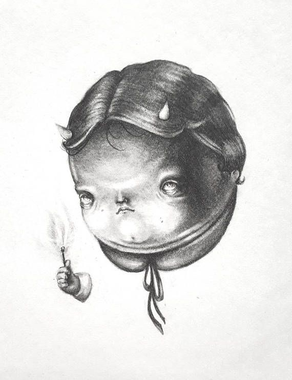 Little Devil  Original Pencil Drawing