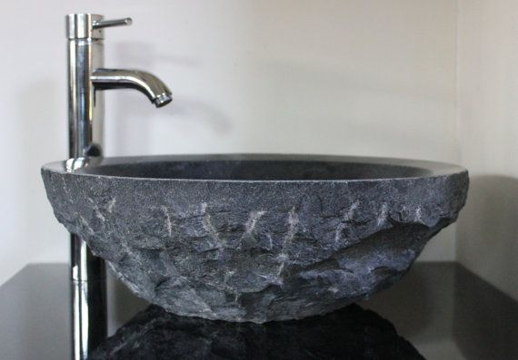 17.75in Black Grey Natural Hammered Exterior Bluestone Limestone Granite Hand Made Vessel Sink Stone bathroom Basin by Etsy.com/OffTheWallArtist08