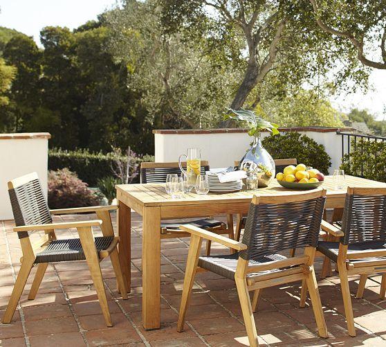 Madera Teak Rectangular Extending Dining Table Palmer Chair Set Pottery Barn Outdoor