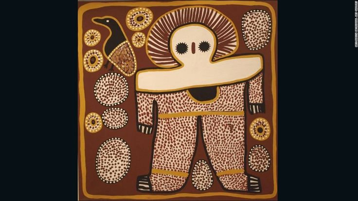 This painting by <a http://www.aboriginal-art-australia.com/artworks/lily-karadada-three-wandjina shows the Wandjina -- the supreme spirit being according to the Worrorra, Wunambal and Ngarinyin people of the Kimberley region. The Wandjina have large eyes but no mouth, as it is said this would make them too powerful. by Lily Karadada.