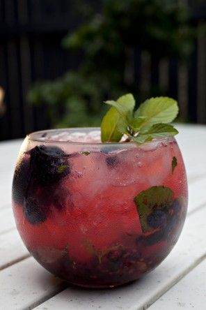 Black and Blue Mojito Recipe   5 blackberries, 11 blueberries 10 mint leaves, 1 ounce lime juice  1 ounce simple syrup   2 ounces rhum agricole,  Crushed ice,  Soda water