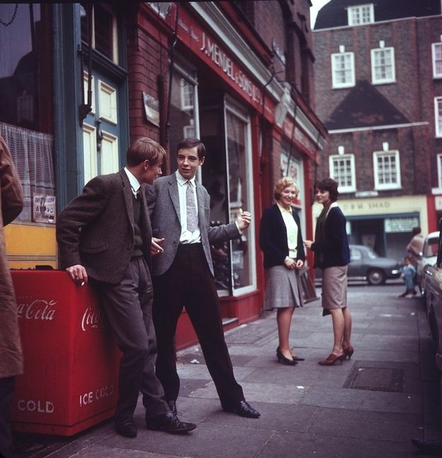Outside the J. Mendel store, London, England, UK, 1963, photographer unknown.