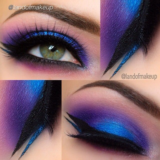 Electric make up look using purple and cobalt blue eyeshadow, thick black & blue winged liner #makeupforshoots...x