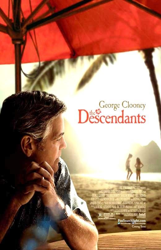 The Descendants (2011) Drama/Komedie, Matt King (George Clooney), een rijke landeigenaar, is getrouwd met een prachtige vrouw, die nu in een terminale coma ligt. Zijn dochters van 10 en 17 jaar oud zijn onbekenden voor hem en hij denkt erover om zijn huis en land te verkopen aan een rijke vastgoedeigenaar. Twijfelend om de stekker uit de apparatuur te halen die zijn vrouw in leven houdt, komt Matt erachter dat zij een affaire had. Hij gaat op zoek naar de betreffende persoon.