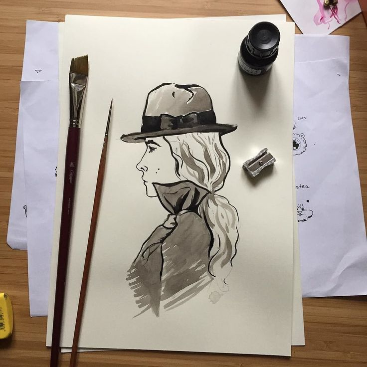 I've been drawing some #fashionillustration today. Thanks to @kalachevaschool for an amazing webinar. I totally loved painting with black ink.