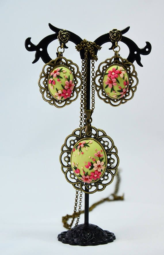 Green floral pendant Spring necklace Floral jewelry Feminine