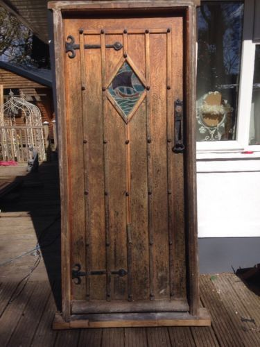 SOLID-OAK-FRONT-DOOR-STAINED-GLASS-OLD-PERIOD-ANTIQUE-FRAME-EXTERNAL-WOOD
