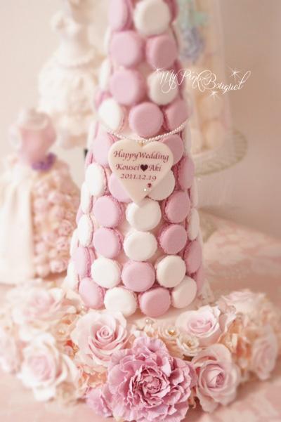 017//40cmマカロンタワー♪マカロンカラー:ピンク×ホワイト ガーランド:シャクヤク、ローズ、ジルコニア花芯の小花