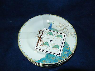 222 Fifth Peacock Garden Appetizer/Dessert Plates   New  Set Of 4