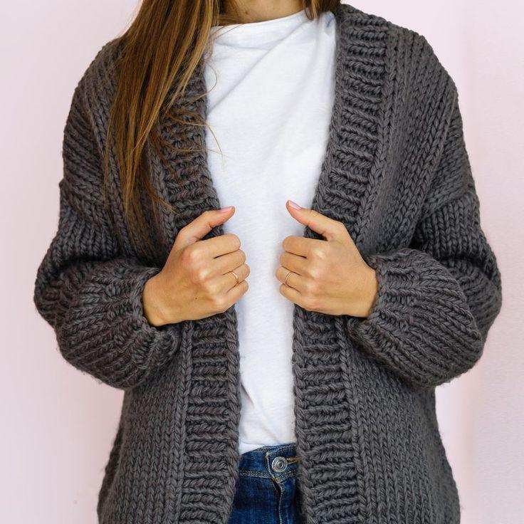 Knit coat: Instructions for long coat in T-shape