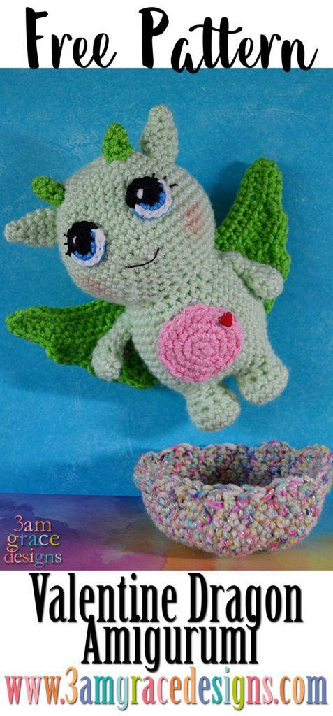 Dylan The Valentine Dragon Free Amigurumi Pattern Crochet