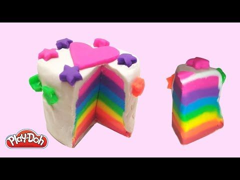 Play Doh How to Make a Rainbow Cake Stars and Heart DIY for Kids Happy rainbow