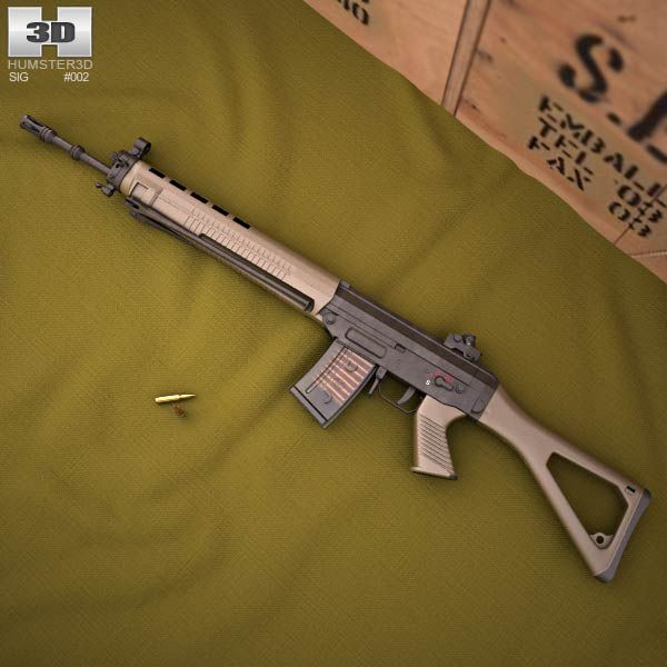 SIG SG 550 3d model from humster3d.com. Price: $50 Find our speedloader now!  http://www.amazon.com/shops/raeind