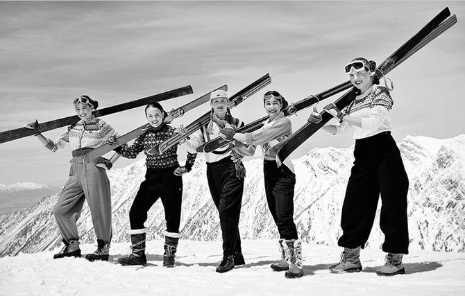 Great girl 40s line up! Short skis don't cut it in the Wasatch! (Overlooking Little Cottonwood Canyon @ Alta, Utah 1940's)