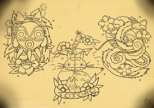 totoro tattoo tumblr pesquisa google tattoos pinterest studios princess mononoke tattoo. Black Bedroom Furniture Sets. Home Design Ideas