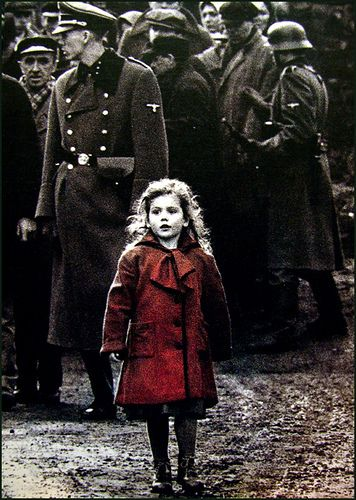 When I was a little girl, my mum watched Schindler's List and when this scene came on, she started to cry. One reason was of course it's such a sad moment (I haven't actually watched it, but I know what happens here) and another reason was because I had long blonde curly hair, a red duffel coat and at the time of my mum watching the film, I was the same age and looked a bit like her.